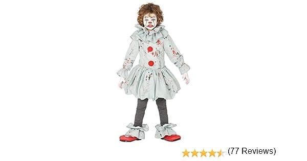 Guirca - Disfraz de Payaso Asesino Asesino - Disfraz para niños de 7 a 9 años - Color Gris y Rojo - Modelo n. 87697: Amazon.es: Juguetes y juegos