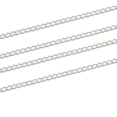 16Ft Silver Plated Curb Silver Plated Copper Chain 5 Meters ODSF-11038