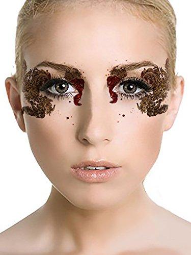 [Halloween Party Temporary Eye Tattoo Eyeshadow Eyeliner Sticker Makeup Eye Mask for Bachelor Party Masquerade Halloween] (Masquerade Mask Tattoo)