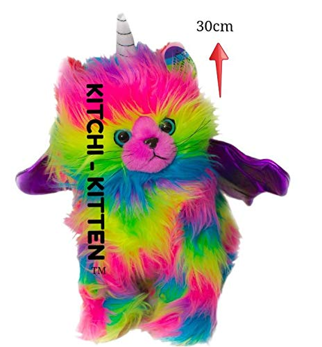 KITCHI - KITTEN Rainbow Unicorn Kitten Plush Stuffed Toy with Dark Purple -