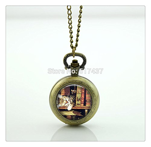 - Book lover Pocket Watch Photo Locket Necklace Silver Style Retro Vintage Pocket Watch Necklace