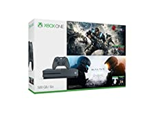 Xbox One S 500GB Console - Gears and Halo Limited Edition Holiday Bundle (Includes 4 Games)