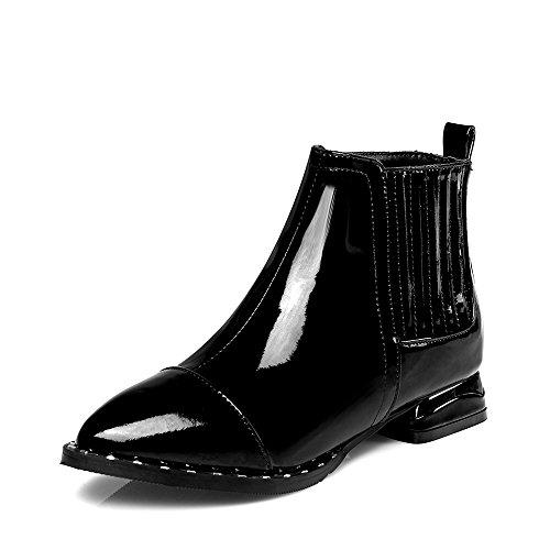 Nine Seven Cuero Moda Puntiagudos Botas de Tacón de Grueso con Cremallera para Mujer negro