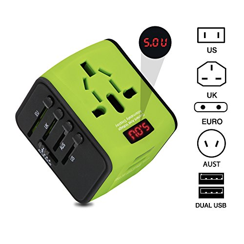 Universal Travel Adapter with 2.4A Dual USB Ports for UK, US, AU, Europe& Asia 150+ International Countries All in One Plug Adapter USB Power Adapter for All USB Device (Green)