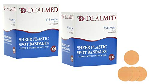 (Dealmed Sheer Plastic Spot Bandages, Sterile with Non-Stick Pad, 7/8