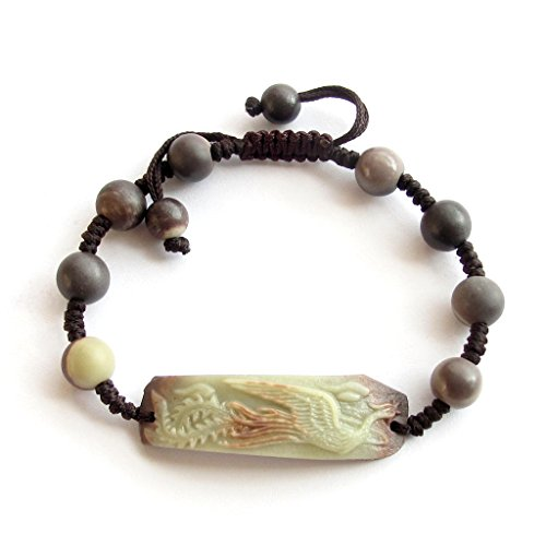 Zipao Green Purple Stone Carved Phoenix Bracelet