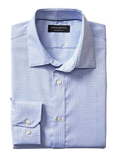 - Banana Reublic Mens Slim-Fit Non-Iron Blue Shirt, Blue Dusk (XL)