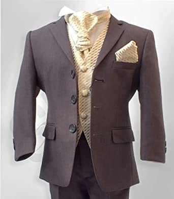 Boys Formal 5 Piece Grey & Gold Page Boy Wedding Suit: Amazon.co