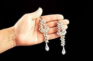 Pendientes de las mujeres hechas a mano con cuentas de cristal lindo pendientes largos de pendientes para niña