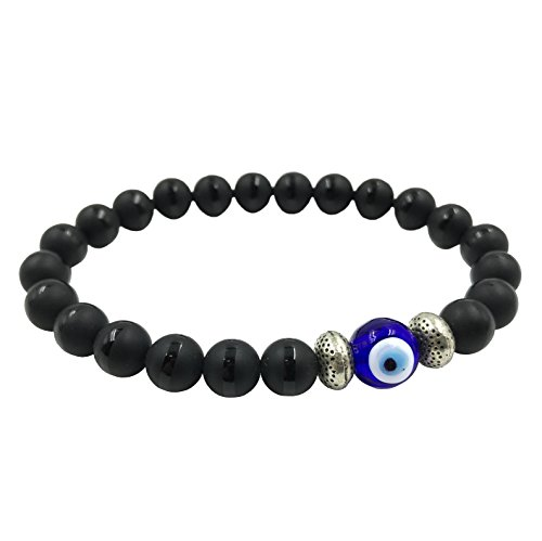 2291 Turkish Evil Eye Black Onyx Bracelet Kabbalah Protection Good Luck Jewelry