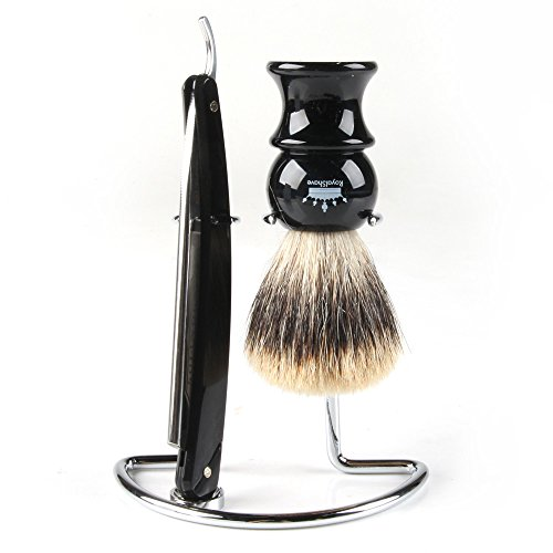 RoyalShave Men's Straight Razor, Badger Brush, Chrome Stand Set - Featuring Dovo 5/8'' Straight Razor! by Royal Shave