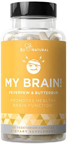 My Brain! Migraine Relief & Headache Vitamins – Sensitivity, Nausea & Auras, Healthy Brain Function for a Clear Mind – Fast-Acting Magnesium, Butterbur, Feverfew – 60 Vegetarian Soft Capsules
