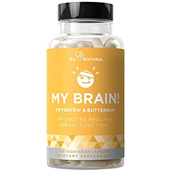 My Brain! Migraine Relief & Headache Vitamins - Sensitivity, Nausea & Auras, Healthy Brain Function for a Clear Mind - Fast-Acting Magnesium, Butterbur, Feverfew - 60 Vegetarian Soft Capsules
