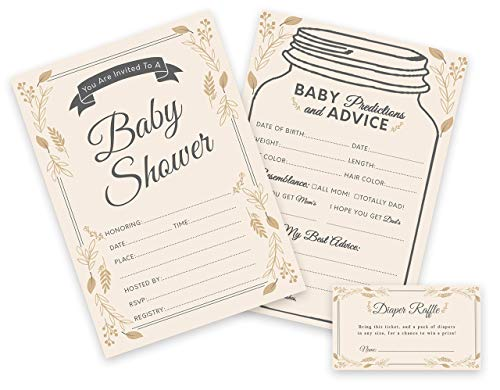 Baby Shower Invitations, Predictions and Diaper Raffle Tickets - Set of 25 (75 Cards) - Elegant, Mason Jar, Rustic, Gender Neutral, Fill in the Blank - By Simple Glee -
