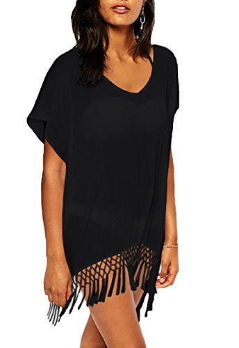 Wander Agio Womens Bohemia Printing Top Beach Bikini Cover-ups Black