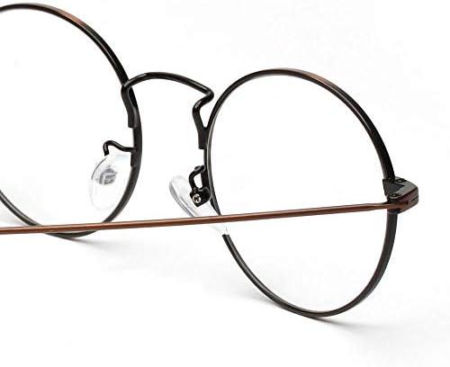 LIUYALE Runde Craft Fuß flach Spiegel-Gläser, Anti-Ermüdung der Augen High Density polarisiertem Licht Schutz der Augen Leicht klare Linse Gläser, Unisex Brillenfassungen (Color : Bronze)
