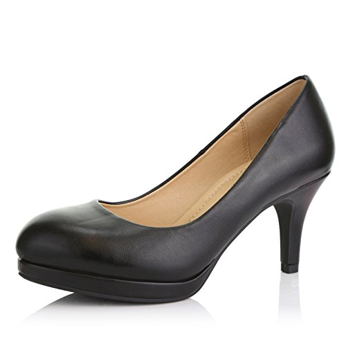 - DailyShoes Women's Classic Ankle Strap Platform Low Heels Round Toe Party Dress Pumps Shoes, Black PU Leather, 7 B(M) US