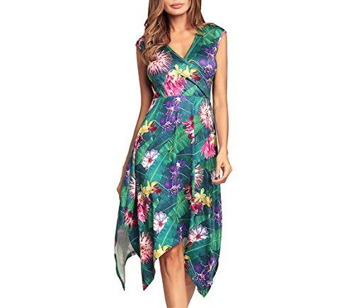 Misvogue Womens Floral Handkerchief Dress V Neck Cocktail Party Dress Slip Casual Dress Knee Length Swing Dress Green Flower 2XL ()