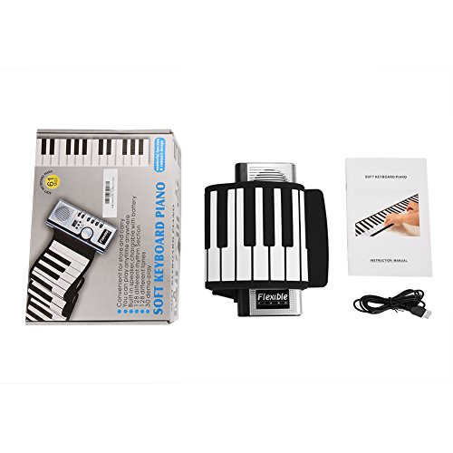 [해외]Neufday 61 Keys Roll Up PianoUpgraded Portable Rechargeable Electronic Hand Roll PianoEnvironmental Silicone Piano Keyboard for Beginners / Neufday 61 Keys Roll Up Piano,Upgraded Portable Rechargeable Electronic Hand Roll PianoEnvi...