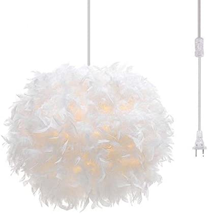 Surpars House Plug in Pendant Light White Feather Chandelier with 17 Cord and On Off Switch in Line