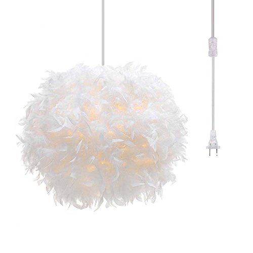 Surpars House Plug in Pendant Light White Feather Chandelier with 17' Cord and On/Off Switch in Line