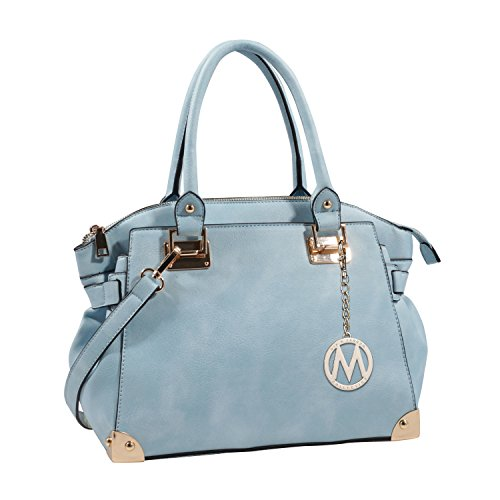 light blue leather handbags - 5
