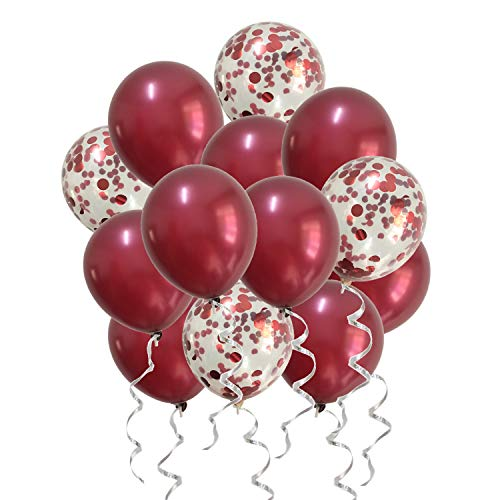 Burgundy Balloons Confetti Balloons Red for Wedding Bridal Shower Birthday Women Party Anniversary Decorations -