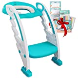 "Toilet Training Seat for Toddlers – Adjustable Stair Potty Seat with Ladder & Handles for Standard 16"" Toilets – Kids Foldable Step Potty Chair with Anti-Slip Toilet Steps by BabySeater, Turquoise"