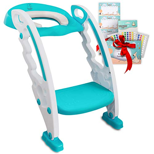 """Toilet Training Seat for Toddlers – Adjustable Stair Potty Seat with Ladder & Handles for Standard 16"""" Toilets – Kids Foldable Step Potty Chair with Anti-Slip Toilet Steps by BabySeater, Turquoise ()"""