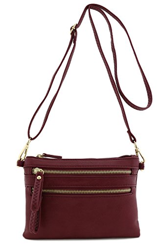 Multi Zipper Pocket Small Wristlet Crossbody Bag (Burgundy)