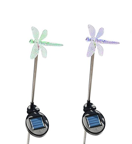 Solar Powered Dragonfly Garden Stake Pathway Color Change Lights (Set of 2) ()