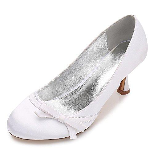 L@YC Womens 17061-38 Bridal Wedding Satin Pumps Ladies Slip On Prom Bridesmaid Pumps Shoes Size White XIaxirwmp0