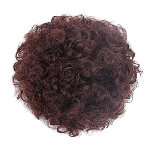Afco Big Hair Extension Full Wig Hairpiece Women Short Curly Synthetic Afro Ponytail Lovely Girl Brown