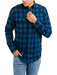 Mens Long Sleeve Blue and Black Checkered Flannel Shirt