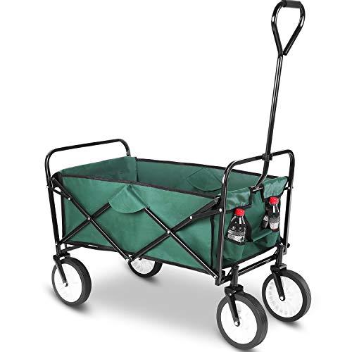 femor Collapsible Folding Outdoor Utility Wagon, Heavy Duty Garden Cart for Shopping Beach Outdoors (Dark Green)
