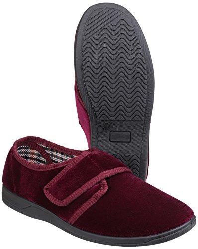 Mirak Mirak Ladies Mary Touch Fastening Soft Padded Velvet Slipper Red BURGUN Textile UK Size 7 (EU 41) XqHJXXq7