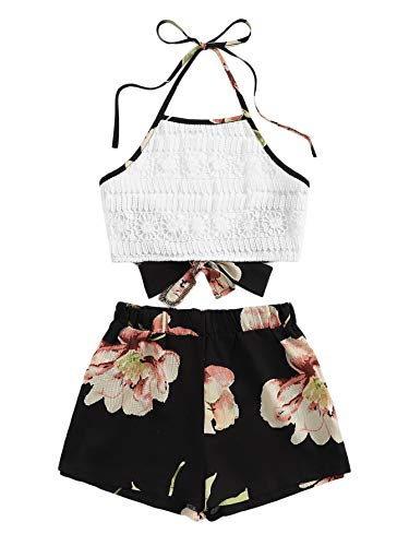 - SheIn Women's Boho 2 Pieces V Neck Lace Crop Top and Striped Shorts Outfits Black
