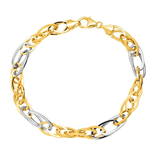 Eternity Gold Oval Link Bracelet in 14K Yellow & White Gold
