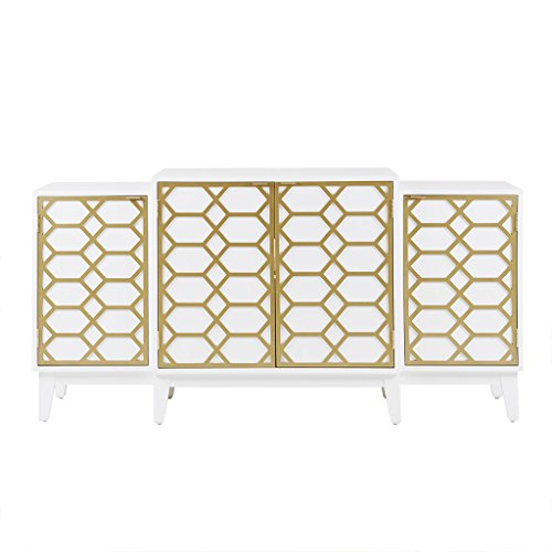Madison Park MP133-0714 Maria Media Console Cabinet - Modern Mid-Century, Lattice Design Buffet/Sideboard Accent Living Room Furniture, 68