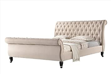 luxeo nottingham tufted sleigh upholstered platform sleigh bed king sand