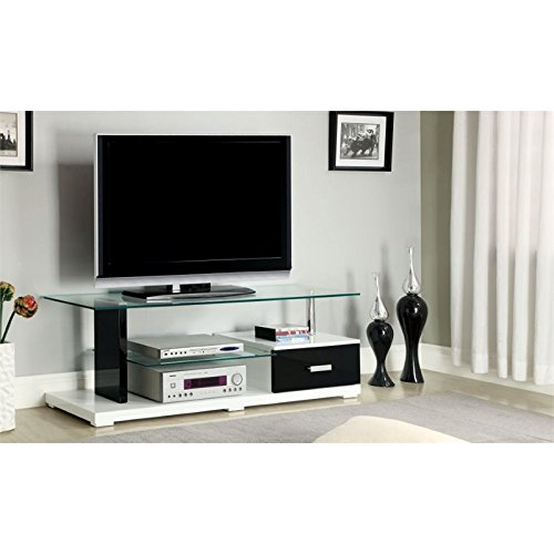 Furniture of America Rave Contemporary TV Console with Storage Drawer, 55-Inch, Glossy Black and White by Furniture of America