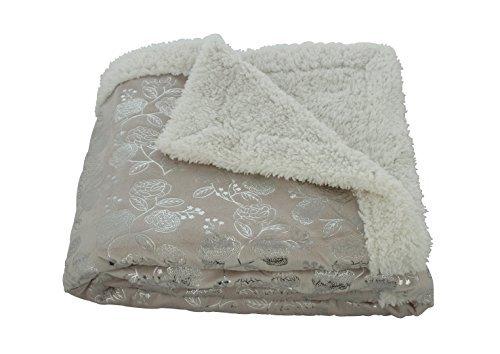 "Elegant Comfort® Luxury Micro-Sherpa 50"" X 60"" Ultra Plush Silver-Flower Design Solid Throw/Blanket, Beige"