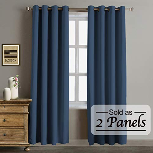 Blackout Thermal Insulated Curtains-Antique Bronze Grommet Top for Bedroom or Living Room,Grommet Curtain, Wide 52 by Length 84 inches,Navy,2 Pieces Set