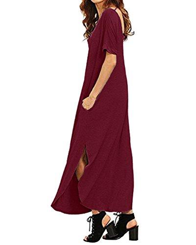 Kidsform Grande Bordeaux Tunique Femme Courte Plage Manche Poches Taille avec Longue Robe Decontracte ORqrOZ
