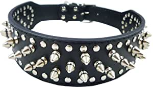 """Black Leather Spiked & Studded Dog Collar for Pit Bull, Boxer - for 17""""-20"""" Neck - 2"""" Wide - 31 Spikes 52 Studs By Indiana Bones (TM)"""