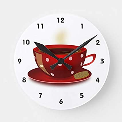 Amazon.com: OSWALDO Red Coffee Cup Kitchen Clock Decorative ...