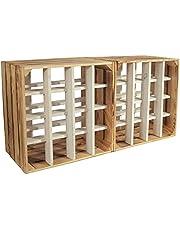 CHICCIE Wijnrek Wino van hout - gevlamd wit houten kist