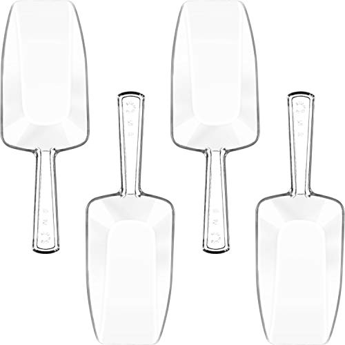 - Hestya Multi-Purpose Plastic Clear Kitchen Scoops, Ice Scoop for Weddings, Candy Dessert Buffet, Protein Powders, Ice Cream, Coffee, Tea (6.5 Inches, 4 Pieces)