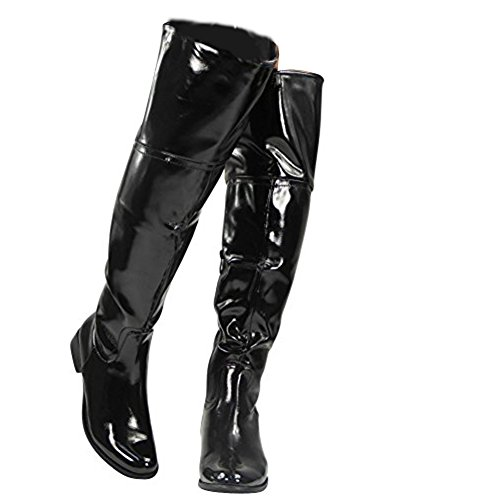 Knee 3 Over Black Size Boots The Womens Shoes Biker 8 High Low Ladies Patent Heel 4CqgqxwB