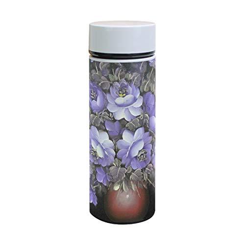 (Unicey Blue Flowers Vase Stainless Steel Thermos Bottle Water Cups Leak Proof Vacuum Flask 350ML)